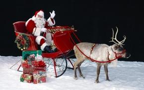 Обои санта клаус, дед мороз, рождество, новый год, олень