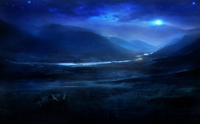 Картинка звезды, ночь, природа, река, холмы, луна, арт