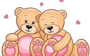 Картинка праздник, нежность, сердце, двое, День Святого Валентина, игрушка. мишка. подарок