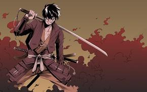 Картинка меч, аниме, арт, самурай, парень, Shimazu Toyohisa
