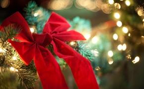 Картинка красный, огни, елка, новый год, Рождество, бант