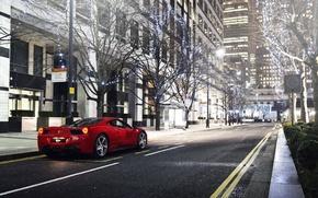 Картинка красный, улица, Лондон, Ferrari, red, спорткар, феррари, 458, Italia