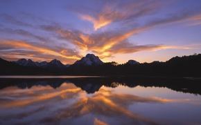 Картинка небо, облака, закат, горы, Озеро