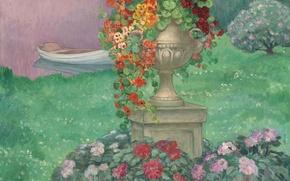 Картинка пейзаж, цветы, пруд, парк, лодка, картина, сад, ваза, Анри Лебаск, Stoned Vase with Flowers in …