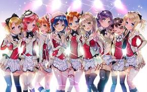 Картинка свет, улыбка, девушки, чулки, аниме, арт, форма, yazawa nico, love live! school idol project, sonoda …