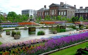 Картинка зелень, цветы, Англия, Лондон, растения, сад, фонтаны, дворец, London, England, palace, Кенсингтон, gardens, Kensington