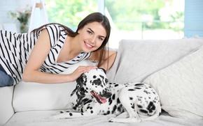 Картинка девушка, настроение, собака, далматин, dog, dalmatian
