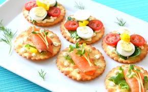 Картинка лосось, помидоры, крекеры, зелень, соус, канапе, яйцо, закуска