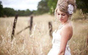 Картинка пшеница, поле, девушка