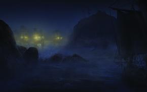 Картинка море, волны, ночь, корабли, Assassin's Creed III, Кредо убийцы 3