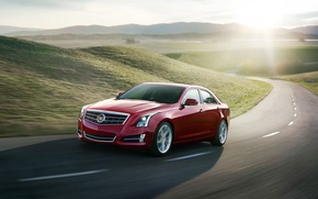 Картинка красный, фон, седан, дорога, Cadillac, ATS, Кадилак, передок, холмы, солнце
