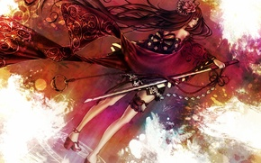 Картинка цветок, девушка, роза, меч, катана, кимоно, бант, подвязка, печать, сюрикен, Rose of Death