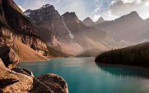Картинка лес, небо, вода, горы, река, речка
