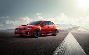 Картинка горы, Subaru, WRX, red