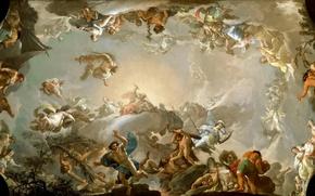 Картинка картина, боги, титаны, мифология, Франсиско Байеу и Субиас, Олимпийцы, Бой с Гигантами