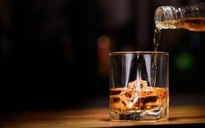 Обои лед, стакан, алкоголь, виски