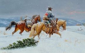 Картинка зима, небо, снег, пейзаж, горы, дом, праздник, лошадь, елка, рождество, картина, жанровая, Clark Kelley Price, …