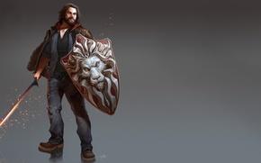 Картинка поза, рисунок, меч, фэнтези, арт, искры, мужчина, sword, борода, fantasy, щит, Final Fantasy, Последняя фантазия, …