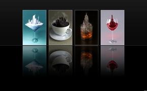Картинка стакан, отражение, чай, бокал, кофе, мороженое, черный фон, напитки