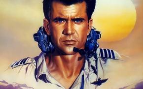 Картинка небо, солнце, рисунок, наушники, арт, пилот, Вьетнам, постер, Мэл Гибсон, Mel Gibson, Air America, Эйр …