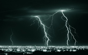 Картинка ночь, фото, стихия, Молния