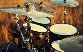 Картинка макро, природа, игра, music, барабаны, инструмент, барабан, установка, ударная, музыкальный, боке, professional, drums, musical, воздухе, ...