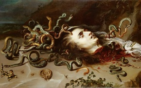 Картинка медуза, картина, Питер Пауль Рубенс, The Head of Medusa, Peter Paul Rubens