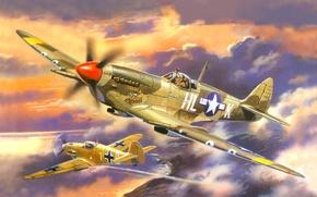 Картинка небо, вода, берег, рисунок, корабли, истребитель, бой, арт, воздушный, английский, самолёты, подбитый, немецкий, WW2, Bf ...