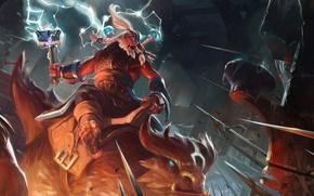 Картинка axe, молния, крепость, сражение, valve, dota 2, disruptor