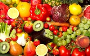 Картинка лимон, apple, яблоко, апельсин, арбуз, киви, клубника, виноград, перец, ананас, помидор, персик, капуста, orange, peach, …