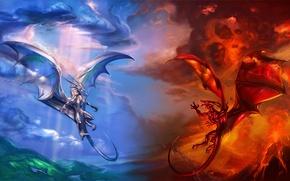 Обои красный, вулкан, тучи, драконы, воздух, лава, синий, облака, огонь
