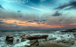 Картинка море, облака, тучи, прибой, бесконечность