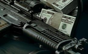Обои оружие, обои, деньги