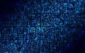 Обои мозаика, узор, десктоп, челюсти, синий, плоский