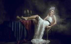 Картинка стиль, дым, свечи, девушка, In the dark