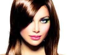 Картинка взгляд, лицо, макияж, помада, губы, тени