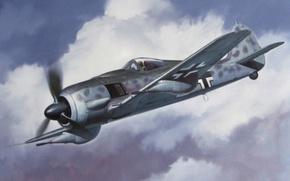 Картинка war, art, painting, aviation, ww2, Focke-Wulf, tank buster, Fw190F-8