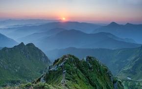 Обои Украина, Карпаты, горы, закат
