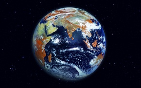 Картинка океаны, Earth, материки, облака, Земля