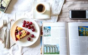 Картинка кофе, пирог, виноград, нож, книга, телефон, вилка