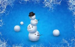 Картинка зима, шляпа, снеговик, головы, прикол, неправильный