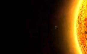 Обои черный, планета, Солнце