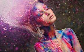 Картинка ресницы, стиль, краски, модель, волосы, руки, плечи, закрытые глаза, девугка