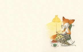 Картинка лампа, вечер, арт, книга, лисичка, детская, сказака