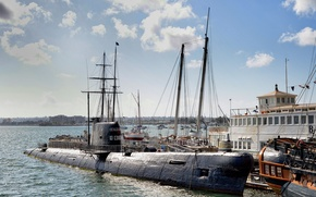 Картинка яхты, причал, Калифорния, музей, California, San Diego, Сан-Диего, San Diego Bay, Maritime Museum, подводная лодка …