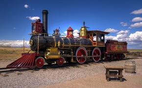 Картинка пустыня, паровоз, железная дорога, Юта, США, старинный