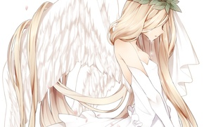 Картинка листья, девушка, крылья, ангел, аниме, лепестки, сакура, слезы, арт, венок, naruto maki
