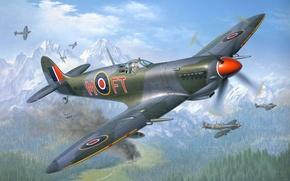 Картинка лес, небо, горы, пожар, война, истребитель, бой, Арт, британский, Spitfire, поршневой, одномоторный, Supermarine, Спитфайр, Злюка