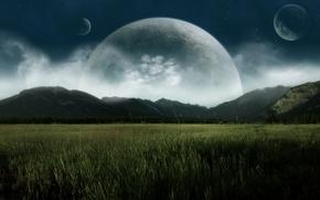 Картинка поле, горы, планеты, долина, спутники