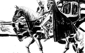 Картинка лошадь, графика, меч, шляпа, чёрно-белая, всадник, карета, плащ, охотник, art, Yoshitaka Amano, кучер, Vampire Hunter …